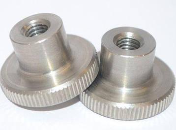 Гайка М3 нажимная с накаткой DIN 466 (рифленная), высокая из нержавеющей стали, фото 2