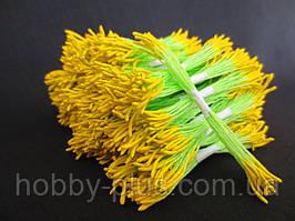 Тайские тычинки, ЖЕЛТЫЕ, удлиненные на светло-салатовой нити, 23-25 нитей, 50 головок