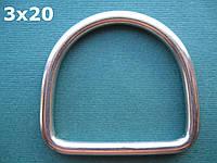 Нержавеющее кольцо D-образное, 3х20 мм, фото 1