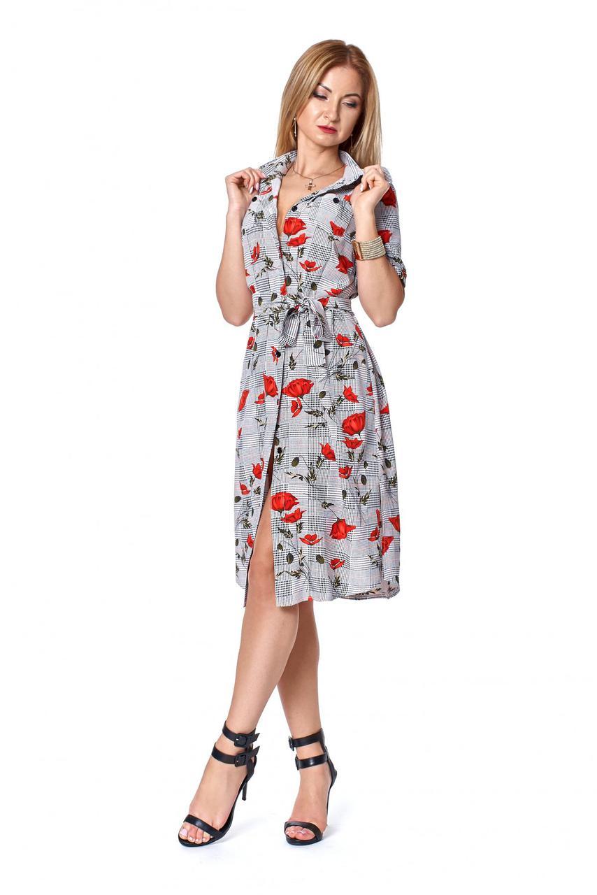 9072c282241 Женское платье в клетку с красными маками 42 44  продажа