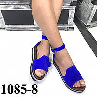 Замшевые босоножки на платформе синие, фото 1