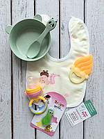 Детский набор для кормления  Желто-салатовый Bambi