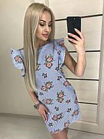 Платье в полоску принт розы, рукав волан / 2 цвета  арт 5837-121