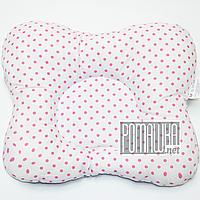 """Подушка """"Бабочка"""" 30х25 см ортопедическая для новорожденных верх 100% хлопок 4060 Розовый 3"""