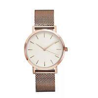 Часы женские наручные кварцевые розовое золото, металлический браслет, белый циферблат