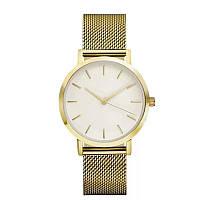 Часы женские наручные кварцевые золотистые, металлический браслет, белый циферблат