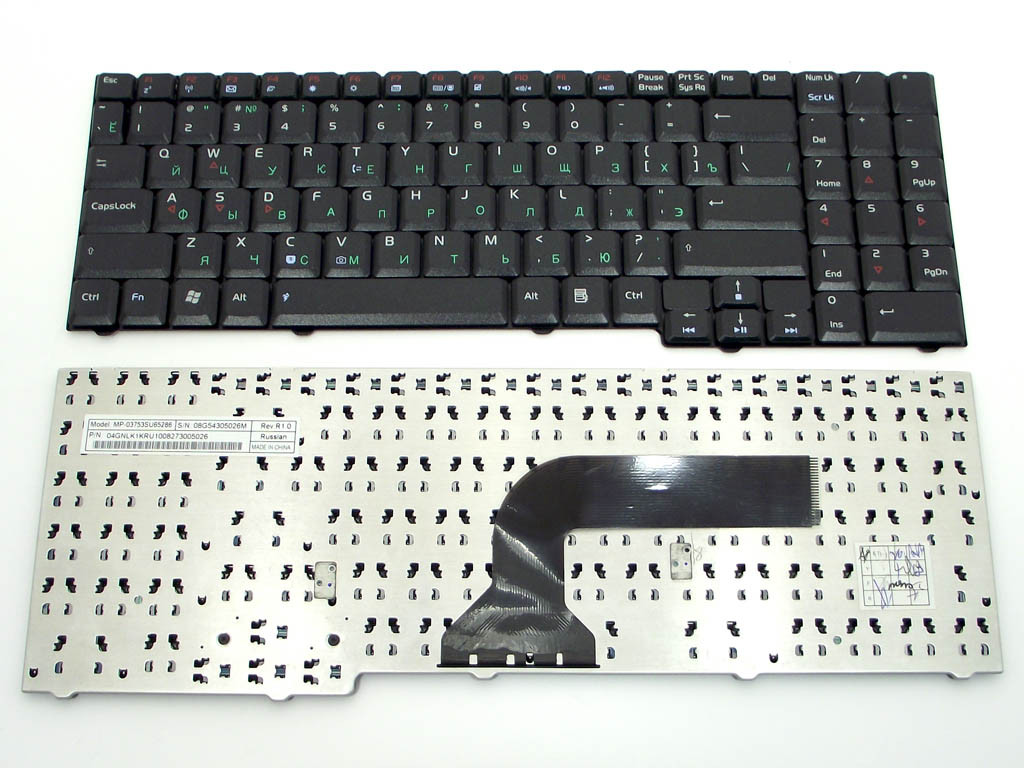 Клавиатура ASUS X57 ( Ru Black без креплений!). MP-03753SU65286 04GNLK
