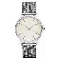 Часы женские наручные кварцевые цвет серебро, металлический браслет, белый циферблат