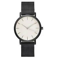 Часы женские наручные кварцевые цвет тёмно-серый, металлический браслет, белый циферблат