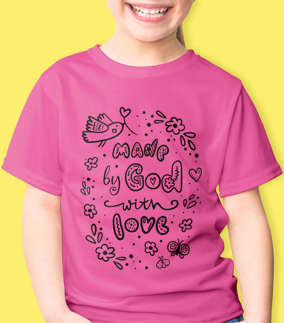 """Футболка дитяча """"Made by God with love"""". Розмір 5-6 років, 116 см."""