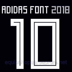 Нанесение номера и фамилии Adidas font 2018, фото 2