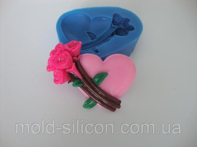"""Силиконовый молд """"Сердце с цветами"""""""