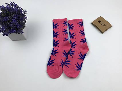 Носки HUF Plantilife - высокие - розовые (синий лист), фото 2