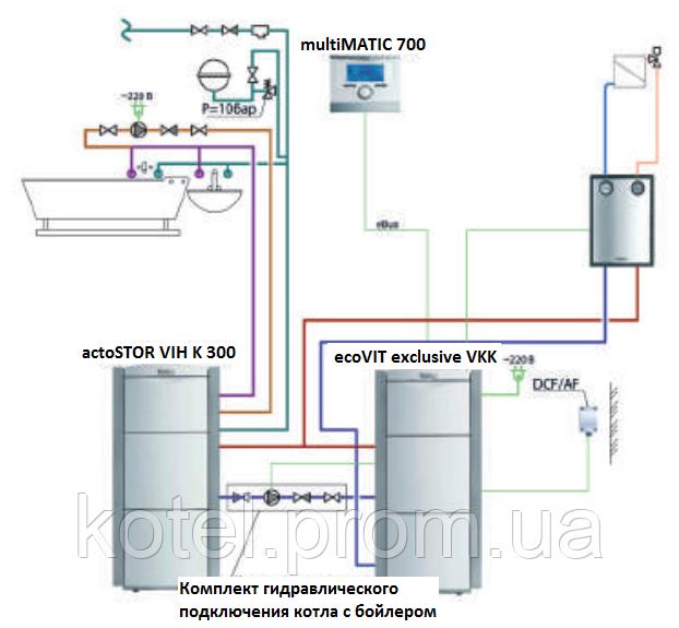 Схема подключения котла Exclusiv VKK 36 кВт с бойлером actoSTOR 300