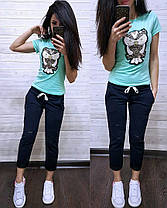 """Модный летний костюм """"Совушка"""", футболка и брюки 7/8 размеры от 42 до 56, фото 2"""
