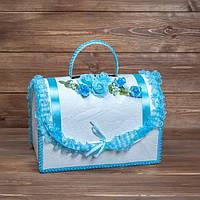 Свадебный сундук для денег бело-голубой (арт. WMB-008)