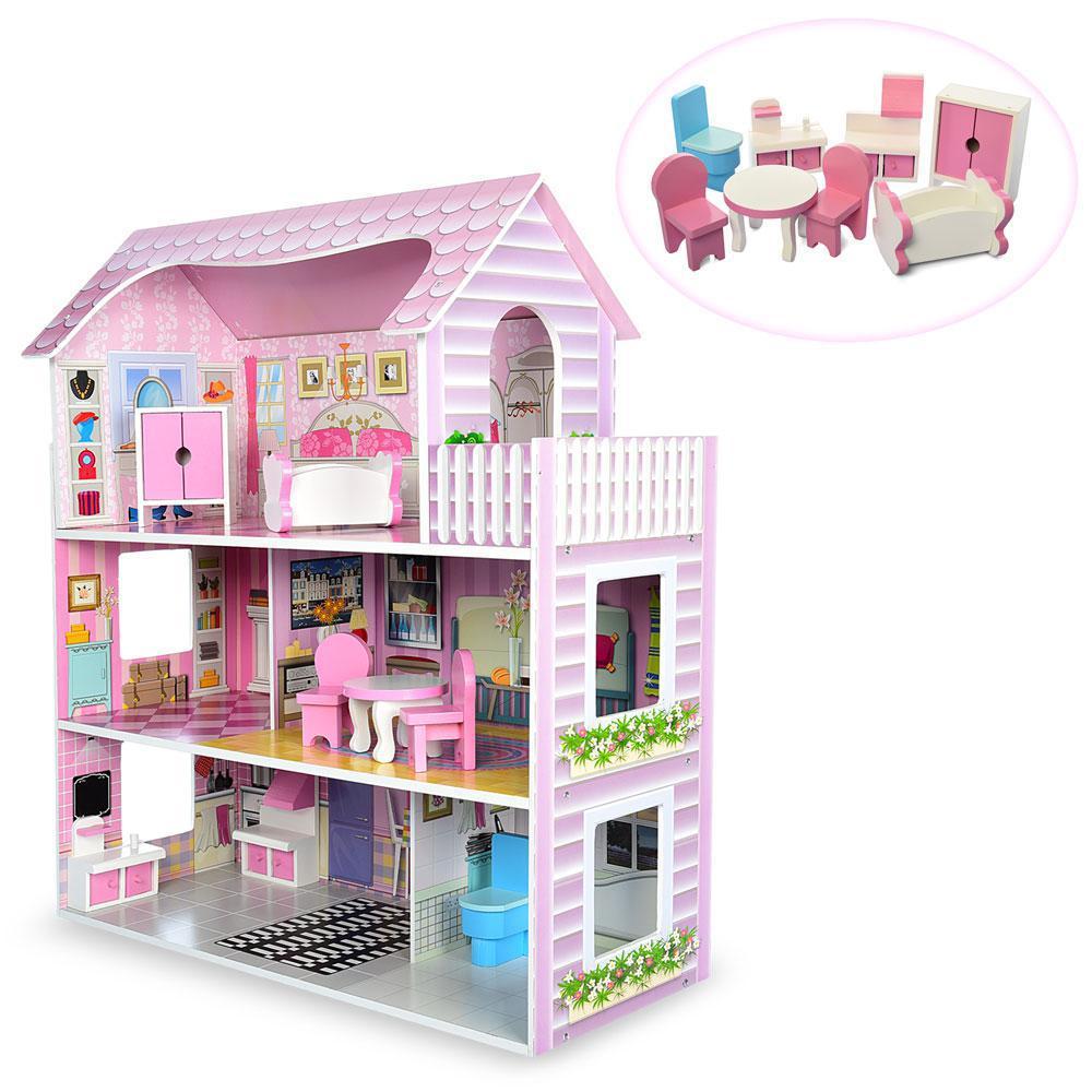 Деревянный кукольный домик с мебелью MD 1204 ***