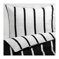 TUVBRÄCKA, постельное белье, полоска черно-белая, 200*200