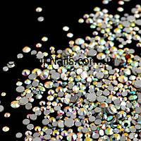 Стразы, камни MIX разного размера(белые  хамелеон)