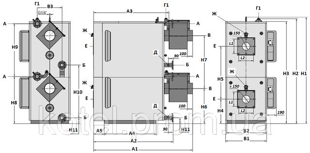 Газовый термоблок Колви 400 Д - габаритные размеры и схема