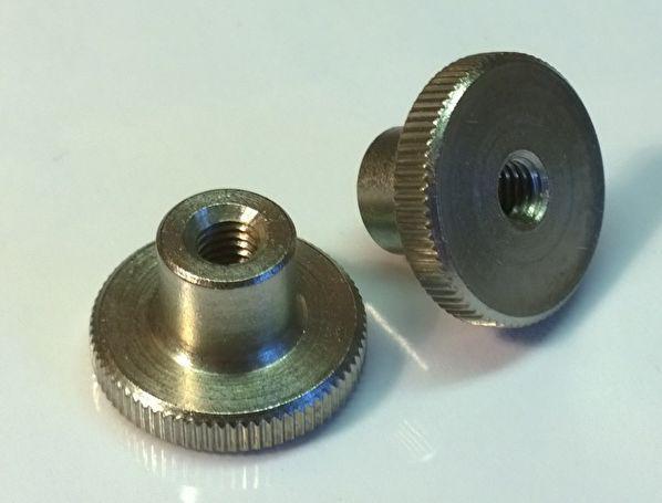 Гайка М4 нажимная с накаткой DIN 466 (рифленная), высокая из нержавеющей стали