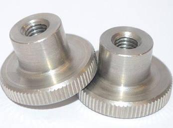Гайка М4 нажимная с накаткой DIN 466 (рифленная), высокая из нержавеющей стали, фото 2