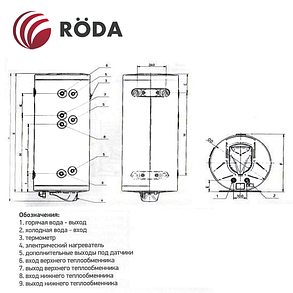 Бойлер косвенного нагрева Roda на 150 литров CS0150WHD (2 теплообменника), фото 2