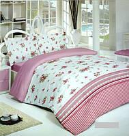 Двуспальный комплект постельного белья ÇAPA HOME евро, роза