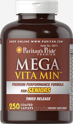 Витамины 50+, Puritan's Pride Mega Vita Min™ Multivitamin for Seniors Timed Release 250 caplets, фото 2