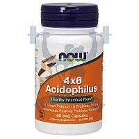 NOW 4x6 Acidophilus Ацидофилус комплекс ацидофильных бактерий пробиотики спортивное питание