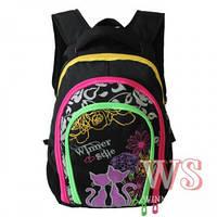Рюкзак Winner stile 378 В школьный детский для девочек в черном цвете с разноцветными змейками