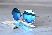 Зеркальные круглые солнечные очки с линза бирюза в металлической оправе (серебро) с UV 400 защитой!