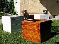Кадка,ящик для цветов деревянный в белом цвете, пластиковый горшок под цветы., фото 5