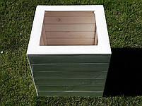 Кадка,ящик для цветов деревянный в белом цвете, пластиковый горшок под цветы., фото 2