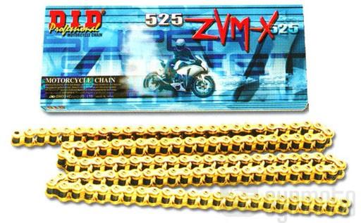 Цепь приводная DID 525 ZVMX G&G - 98 ZB (золотая)