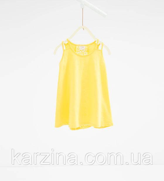 Жёлтая Маечка с кружевной вставкой на спине ZARA (Испания)  8лет