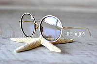Женские круглые антибликовые очки для водителя в золотой металлической оправе с UV 400 защитой!