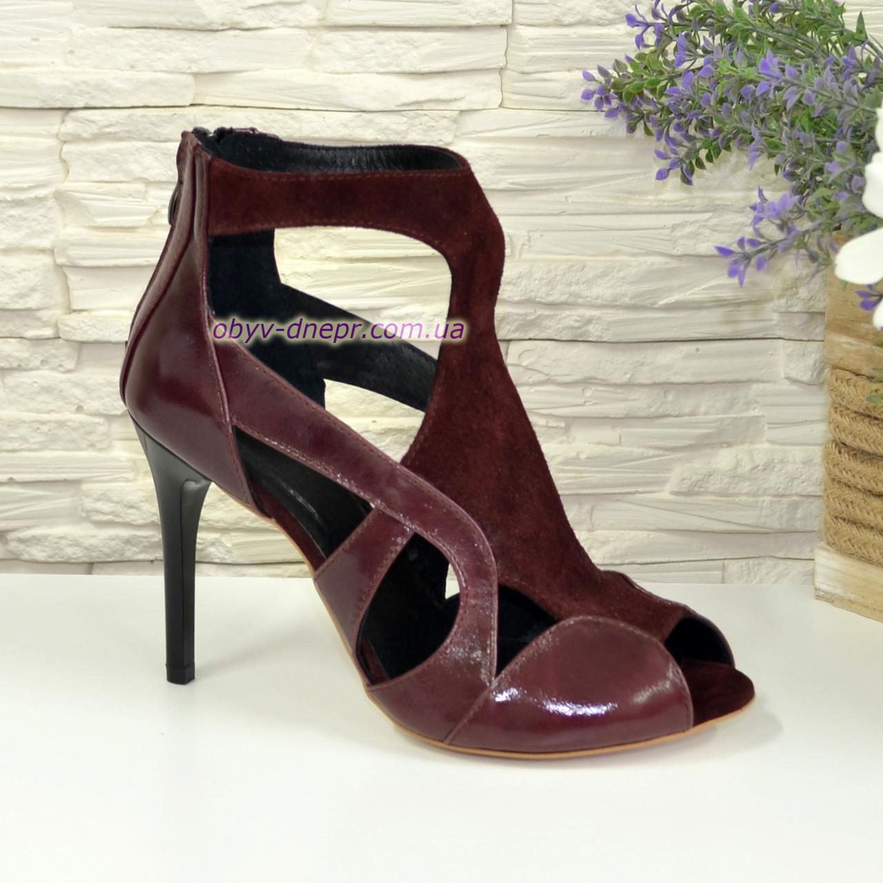 Элегантные босоножки на шпильке, натуральная кожа и замша бордового цвета