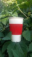 Термочехол цельный для стаканов 210 мл - 340 мл красный