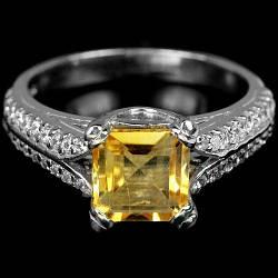 Цитрин желто-оранжевый, серебро 925, кольцо, 1158КЦ