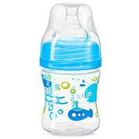 Бутылочка антиколиковая с широким горлышком 120 мл голубая тм Babyono