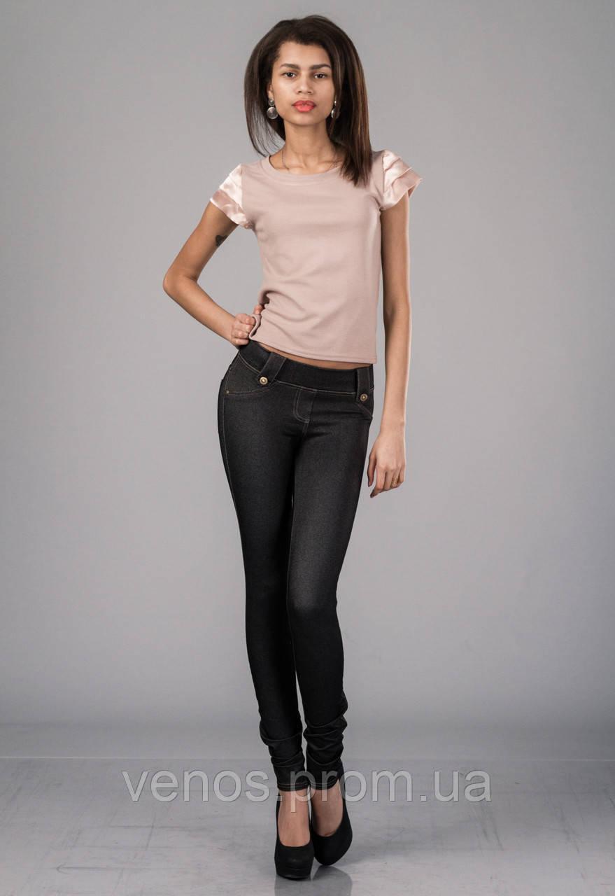 Черные леггинсы под джинс. L033