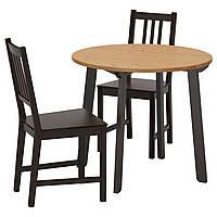 IKEA GAMLARED/STEFAN Стол и 2 стула, пятно света патина, коричнево-черный  (592.211.65)