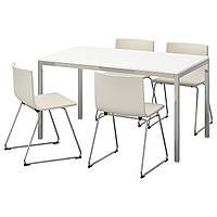 IKEA TORSBY/BERNHARD Стол и 4 стула, глянцевый белый, Кават белый  (591.615.62)