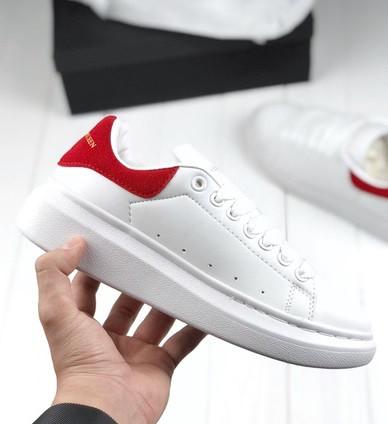 Кроссовки Alexander McQueen Oversized Sneakers White/Red. Живое фото! (Реплика ААА+)
