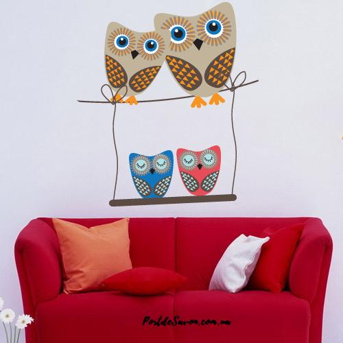 """Детская интерьерная наклейка """"Four Owls"""""""