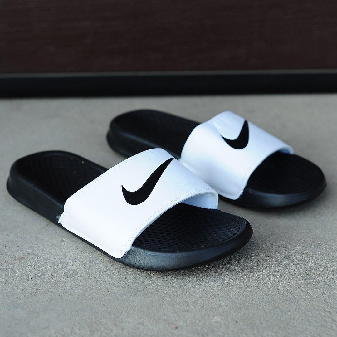 b3a37b29 Мужские тапочки Nike (черно-белые), ТОП-реплика: продажа, цена в ...