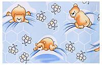 Защита в кроватку Qvatro Gold ZG-02  голубой (мишка лежит, пчелки), фото 1