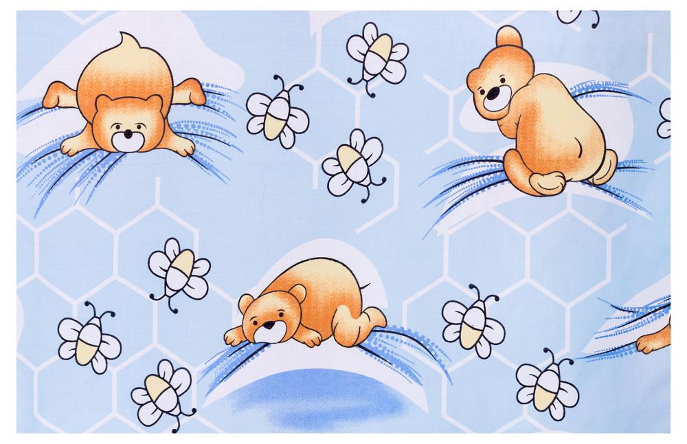 Защита в кроватку Qvatro Gold ZG-02  голубой (мишка лежит, пчелки)
