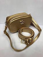 Cумка на пояс Гуччи Gucci GG-2806 бананка через плечо женская с плечевым ремнем золотистая